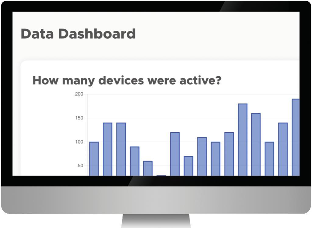 Infiniteach data dashboard displayed on a monitor, showing a chart of active devices over several days